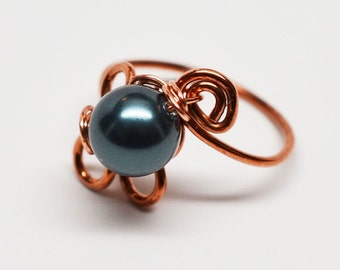 Copper and crystal black pearl wirework wrapped ring