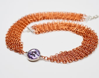 Chainmaille ribbon necklace in copper with crystal gem