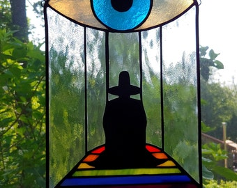 Holy Mountain Stained Glass Suncatcher, the alchemist, rainbow room, Jodorowsky