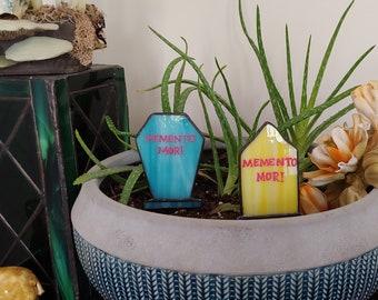 Stained Glass plant stake Pastel Blue Gravestone , tombstones, Memento Mori, pastel goth garden, planter decor, plant ornament