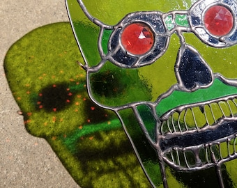 Stained Glass Green Skull Suncatcher, lime green, jewel eyes window decor, witchy art