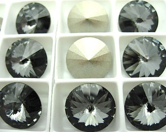 6 Silver Night Foiled Swarovski  Rivoli Stone 1122 12mm
