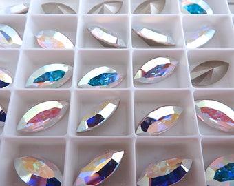 2 Crystal AB Swarovski Crystal Stone Navette 4228 15mm x 7mm