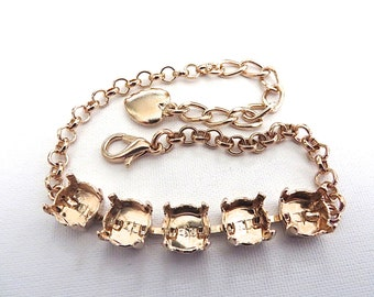 39ss 5 Stone Rose Gold Plated Empty Cup Chain Bracelet