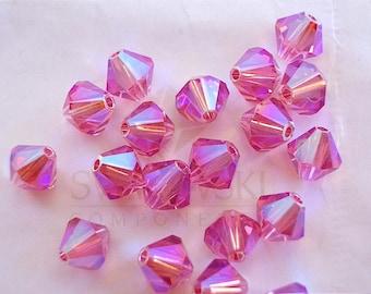 12 Rose AB2X Swarovski Crystals Bicone 5328 6mm