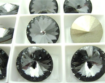 6 Silver Night Swarovski  Rivoli Stone 1122 14mm
