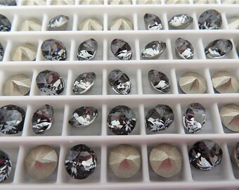 24 Silver Night Foiled Swarovski Crystal Chaton Stone 1088 29ss 6mm