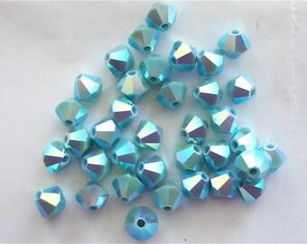24 Turquoise AB2X Swarovski Crystal Beads Bicone 5328 4mm