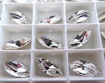 6 Clear Crystal Swarovski Crystal Stone Navette 4228 15mm x 7mm