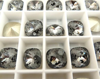 4 Silver Night Foiled Swarovski Crystal Square Cushion Cut Stone 4470 12mm