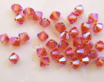 24 Rose AB2X Swarovski Crystal Beads Bicone 5328 4mm