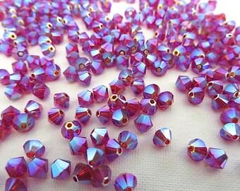 24 Scarlet AB2X Swarovski Crystal Beads Bicone 5328 4mm