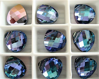 2 Aquamarine Vitrail Light Swarovski Crystals Pendants Briolette 6012 11mm