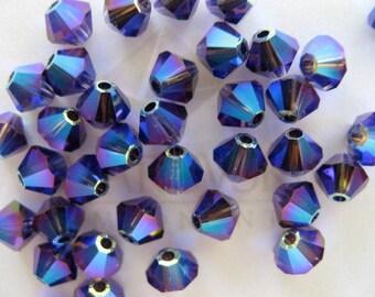 48 Purple Velvet AB2X Swarovski Crystal Beads Bicone 5328 4mm