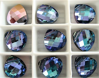 4 Aquamarine Vitrail Light Swarovski Crystals Pendants Briolette 6012 11mm