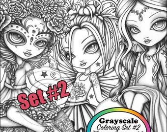 Set 2 - Mykas Minikins Grayscale - Premium Loose Leaf Coloring Book - Printed Coloring Set - Child Fairies - Big Eyed Fairy - Gothic Fae