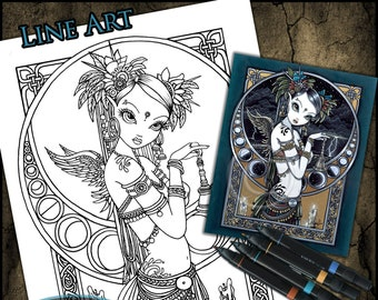 Melita Close Up - Line Art - Digital Download - Coloring Page - Tribal Fusion - Myka Jelina Art - Belly Dancer - Moon Phase