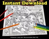 Mykas Minikins Bookmark Set 2 Coloring Page Instant Download Cute Big Eyed Fairy Children Art Sugar Skull Gothic Fairy Mermaid