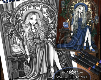 Savannah Grayscale Digital Download Coloring Page Gothic Bohemian Peacock Chair Relaxing Blue Fairy Myka Jelina Art