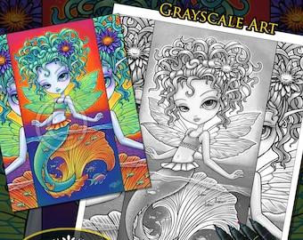 Tilly Mykas Minnows Grayscale Digital Download Coloring Page Tropical Rainbow Mermaid Ocean Myka Jelina Art