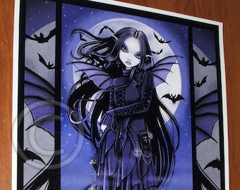 Morgan 12x16 inch Embellished CANVAS Gothic Vampire Bat Moon Fairy Purple Blue Myka Jelina Art