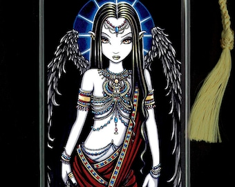Nefertari Egyptian Bastet Angel Tassel BOOKMARK Myka Jelina Art