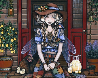 Adaline Ltd Edition Embellished 12x16 inch Canvas Print Bohemian Farm Girl Country Fairy Tiny House Chickens Lemons Lavender Blue Bird