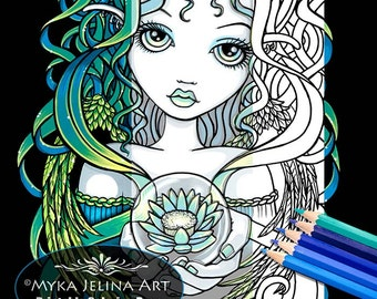 Kallan Lotus Angel Digital Download Coloring Page Myka Jelina Art