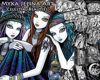 Set 3 - Grayscale Printable Coloring Book - Celestial Beauties - Myka Jelina - Gothic Fairies. Bohemian Girls & Fantasy Art. - Download