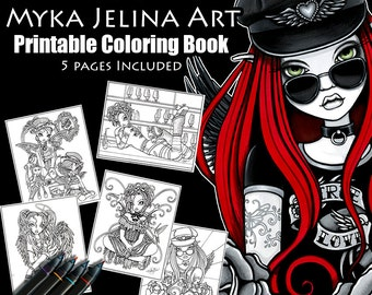 Set 2 - Printable Coloring Book - Myka Jelina Art - Fantasy Coloring Pages - Digital Download - 5 Pages - Line Work