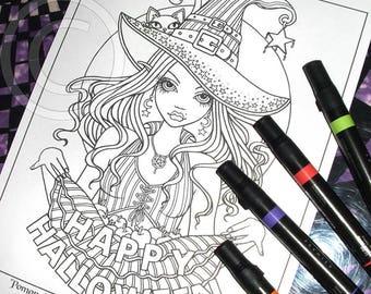 Pomona Digital Download Coloring Page Line Art Myka Jelina Samhain All Hallows Eve Witch Apples Kitty Halloween