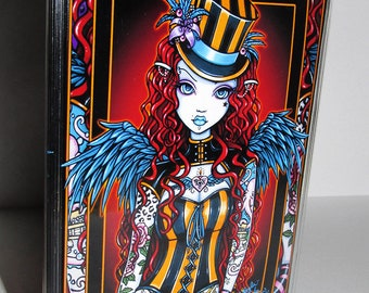 Fairy business card etsy layla sideshow circus tattoo angel top hat fairy fantasy vinyl business card holder myka jelina art reheart Image collections