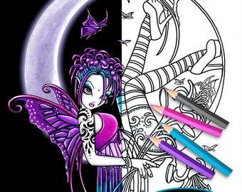 Paige - Moon Fairy - Digital Download - Coloring Page - Line Art - Myka Jelina Art - Crescent Moon - Flower Fairy - Tattoo Fae