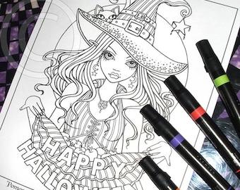 Pomona Digital Download Coloring Page Line Art Myka Jelina Art Samhain All Hallows Eve Witch Apples Kitty Halloween
