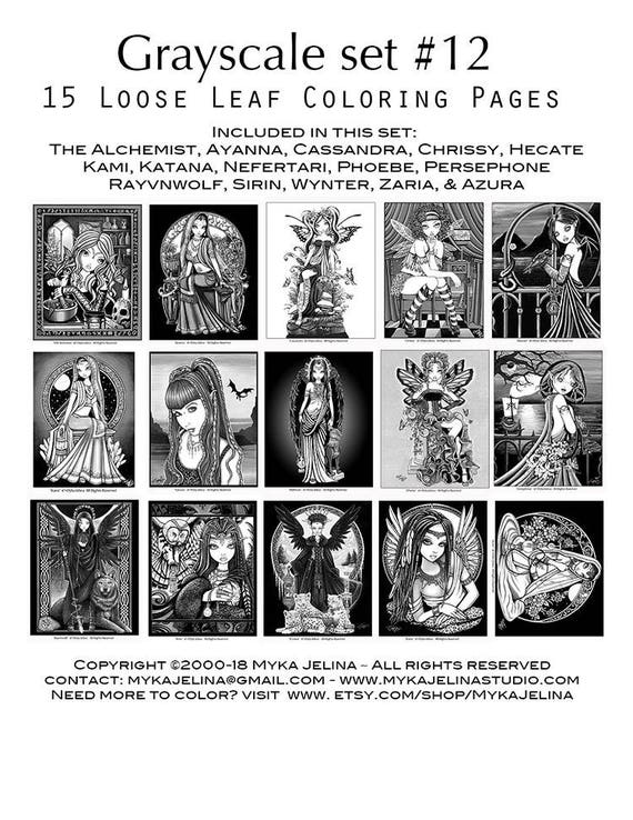 Set 12 Adult Coloring Pages Gothic Fairy Myka Jelina Etsy