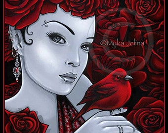Gothic Red Rose Bird Flower Fairy Scarlet Signed BIG Prints