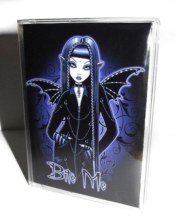 Mina Me Mordre Vinyle Carte De Visite Porte Fee Gothique