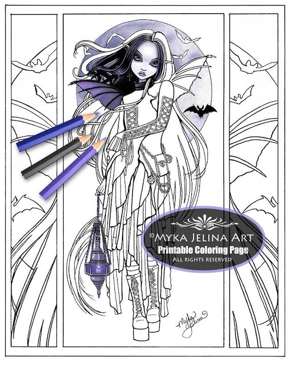 Morgan Gothic Fairy Vampire Art Digital Download Coloring Page Line Art Myka Jelina Art Big Eyed Moon Bat