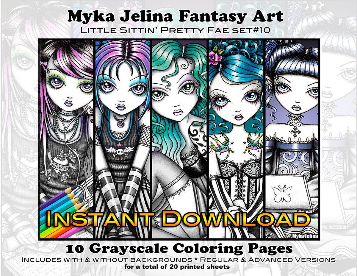 - Grayscale Set 10 Cute Fae Printable Coloring Book Myka Etsy