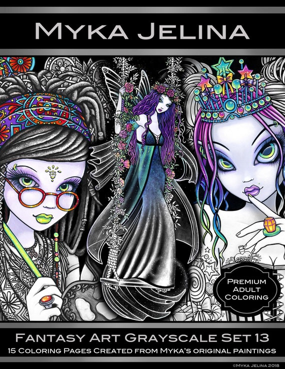 Set 13 - Adult Coloring Pages - Gothic Fairy - Myka Jelina - Fantasy Art - Grayscale - Fairy Book - FREE US SHIPPING - Angels - Bohemian Fae