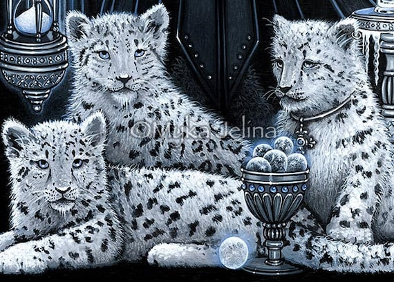 Gothic Angel Snow Leopard Queen Ice Fairy Cat Wynter CANVAS Print Signed Myka
