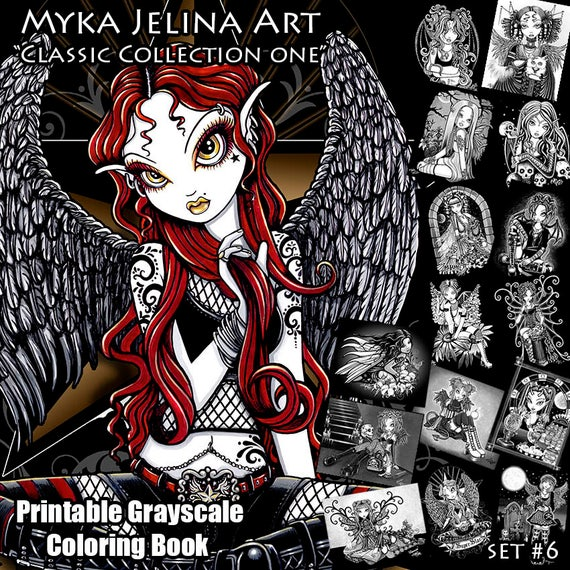 Toxic Gothic Fairy Coloring Book Page | ElvenstarArt | 570x570