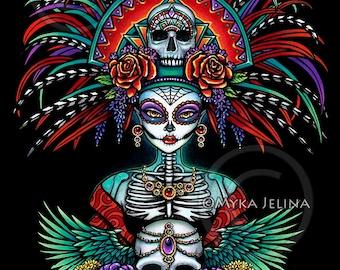 Beautiful Bones Signed Print Dia De Muertos Festival Mictecacihuatl Sugar Skull Calaca Day of the Dead Headdress