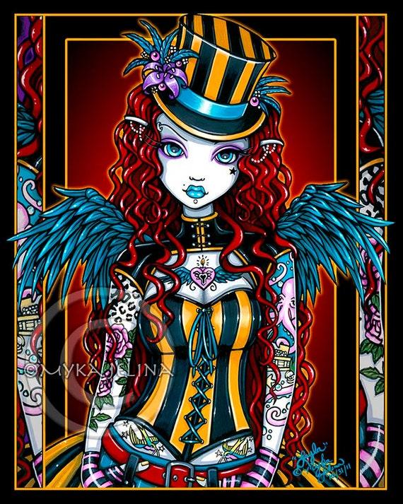 Steampunk Tattoo Couture Circus Layla Angel Art Print SE