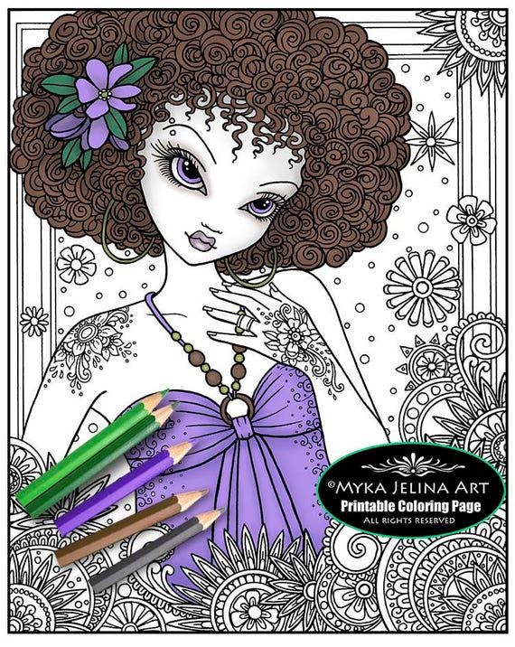 Digital Download Coloring Page Flower Power Myka Etsy