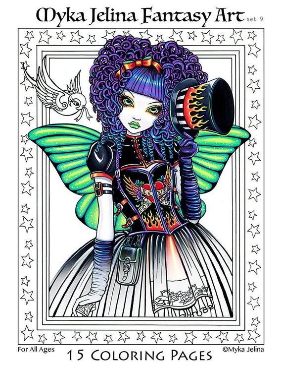 Set 9 Printed Coloring Pages Free Us Shipping Big Eyed Fairy Angel Art Loose Leaf Coloring Pack Line Work 15 Pages