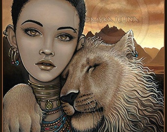 African Princess Lion Fae Zariel Akachi Limited Edition Canvas ACEO