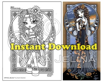 Minikin Lucia Line Art - Instant Download - Coloring Page - Flower Fairy - Children Art - Big Eyed Fairy - Curly Haired Girl