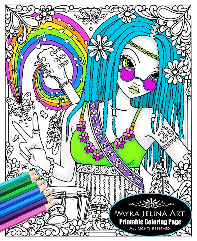 Coloriage Fleur Hippie.Coloriage Good Vibes Ligne Art Myka Joel Hippie Art Etsy