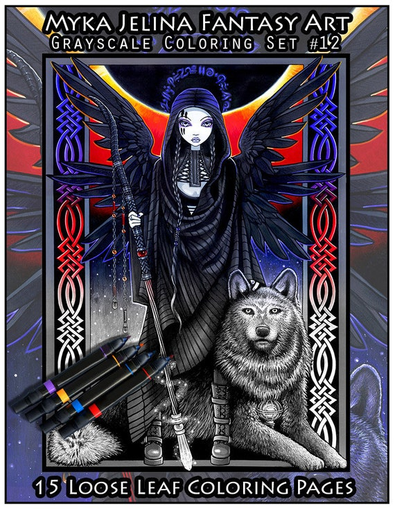 Set 12 Adult Coloring Pages Gothic Fairy Myka Jelina Etsy